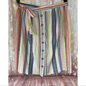 F&F- 100% Cotton Midi Button Front Striped Skirt